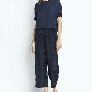 VINCE Slouchy Pull On Plaid Crop Wide Leg Pants
